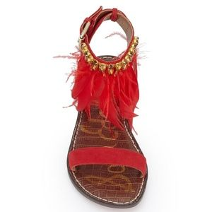 ec0e07696 Sam Edelman Shoes - Sam Edelman NWT Red Embellished Feather Sandals